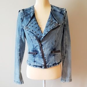 Romeo & Juliet Couture Studded Denim Moto Jacket
